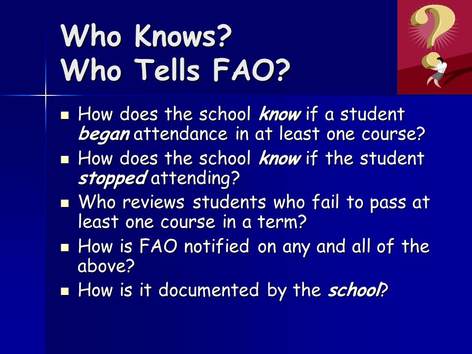 Who Knows. Who Tells FAO.