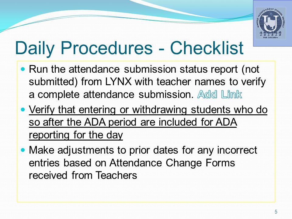 Daily Procedures - Checklist 5