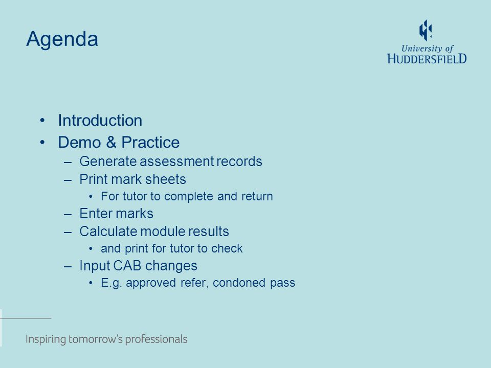 Agenda Introduction Demo & Practice –Generate assessment records –Print mark sheets For tutor to complete and return –Enter marks –Calculate module results and print for tutor to check –Input CAB changes E.g.