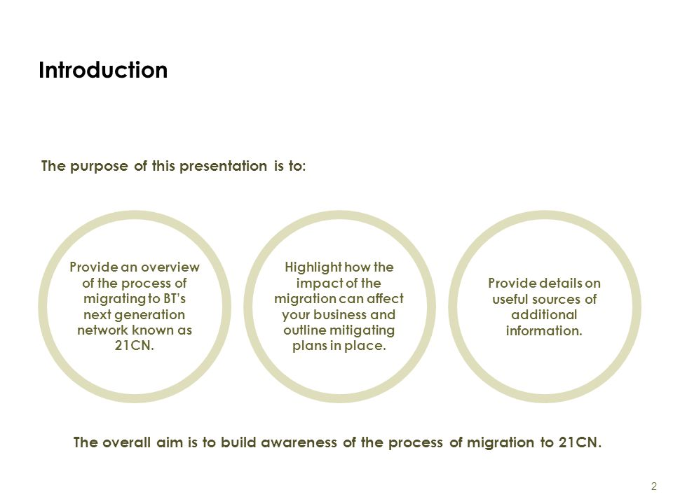 Introduction The purpose of this presentation is to: 2 Provide an overview of the process of migrating to BT's next generation network known as 21CN.