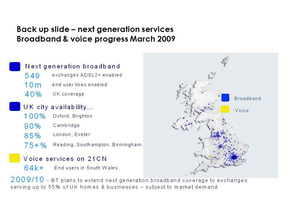 Back up slide – next generation services Broadband & voice progress March 2009