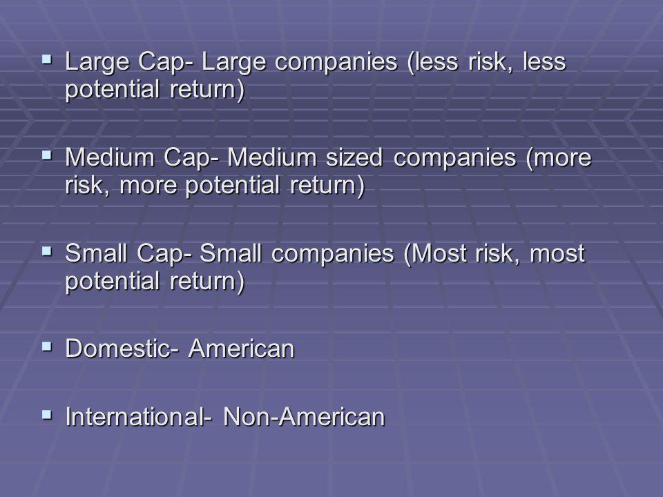 Large Cap- Large companies (less risk, less potential return)  Medium Cap- Medium sized companies (more risk, more potential return)  Small Cap- Small companies (Most risk, most potential return)  Domestic- American  International- Non-American