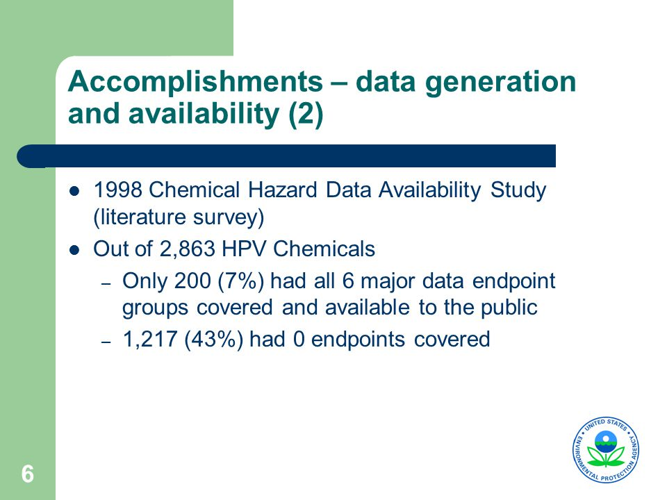 6 Accomplishments – data generation and availability (2) 1998 Chemical Hazard Data Availability Study (literature survey) Out of 2,863 HPV Chemicals – Only 200 (7%) had all 6 major data endpoint groups covered and available to the public – 1,217 (43%) had 0 endpoints covered