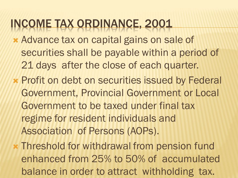  Advance tax on capital gains on sale of securities shall be payable within a period of 21 days after the close of each quarter.