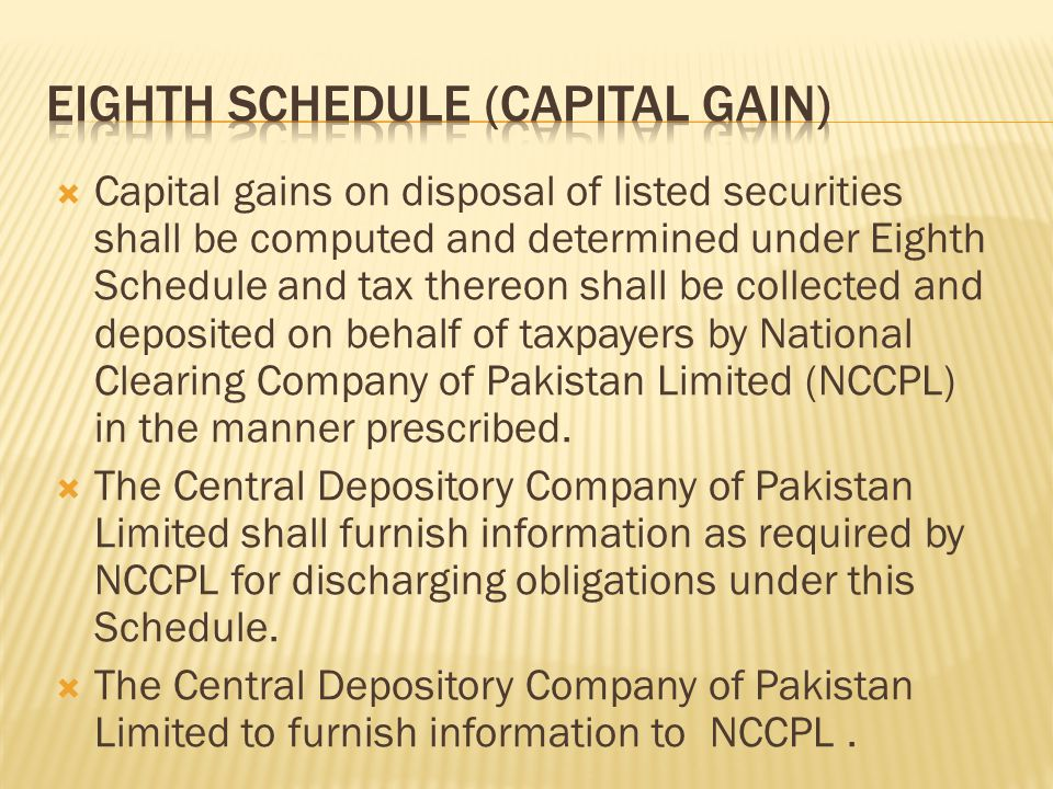  Capital gains on disposal of listed securities shall be computed and determined under Eighth Schedule and tax thereon shall be collected and deposited on behalf of taxpayers by National Clearing Company of Pakistan Limited (NCCPL) in the manner prescribed.