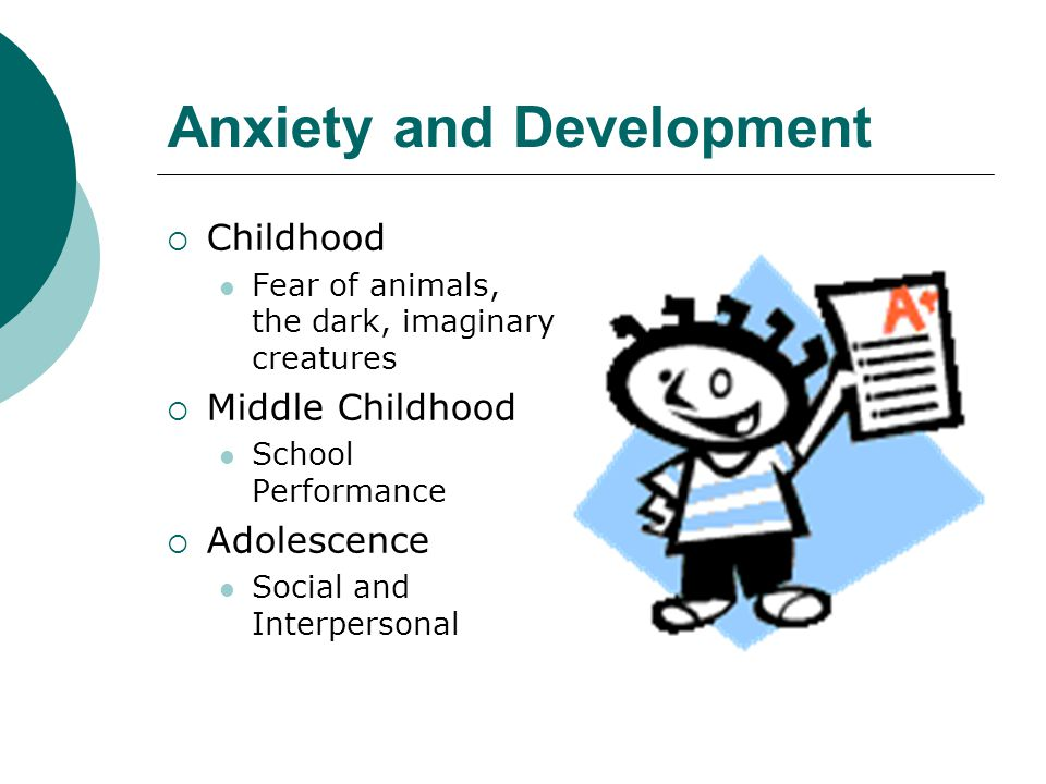 Anxiety and Development  Childhood Fear of animals, the dark, imaginary creatures  Middle Childhood School Performance  Adolescence Social and Interpersonal