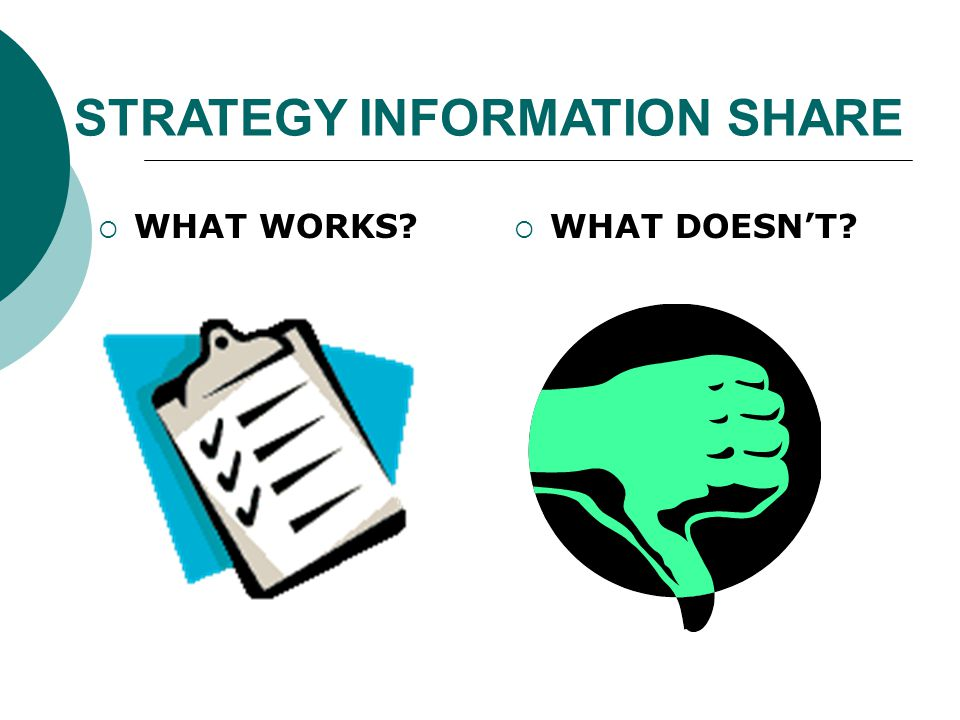 STRATEGY INFORMATION SHARE  WHAT WORKS  WHAT DOESN'T