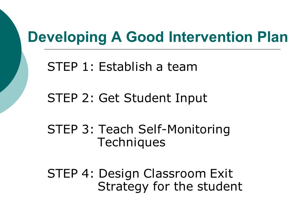 Developing A Good Intervention Plan STEP 1: Establish a team STEP 2: Get Student Input STEP 3: Teach Self-Monitoring Techniques STEP 4: Design Classroom Exit Strategy for the student