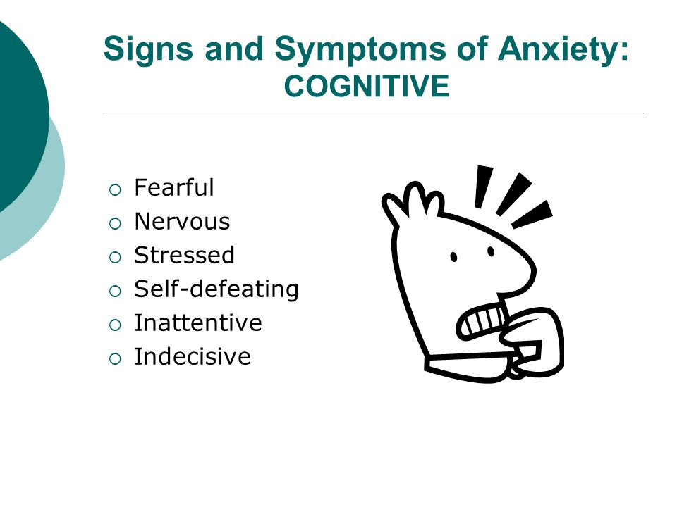 Signs and Symptoms of Anxiety: COGNITIVE  Fearful  Nervous  Stressed  Self-defeating  Inattentive  Indecisive