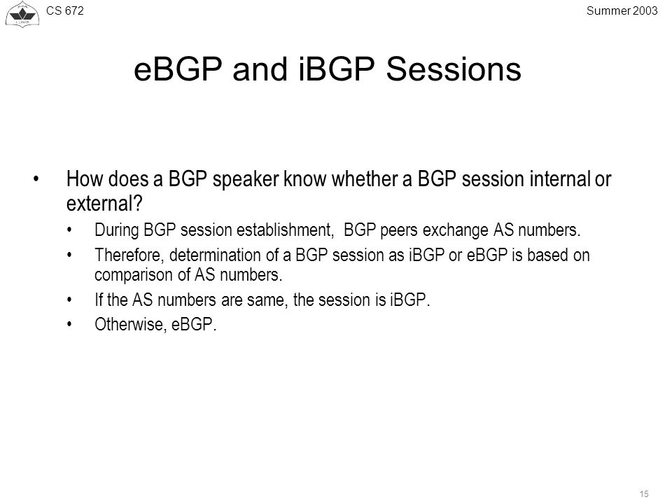 CS 672 15 Summer 2003 eBGP and iBGP Sessions How does a BGP speaker know whether a BGP session internal or external.