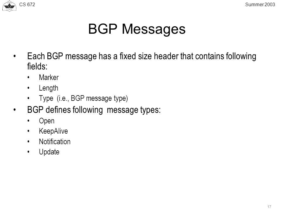 CS 672 17 Summer 2003 BGP Messages Each BGP message has a fixed size header that contains following fields: Marker Length Type (i.e., BGP message type
