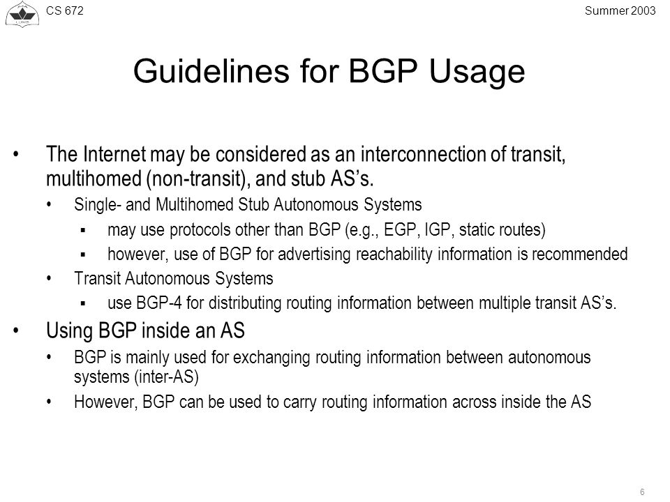 CS 672 6 Summer 2003 Guidelines for BGP Usage The Internet may be considered as an interconnection of transit, multihomed (non-transit), and stub AS's.