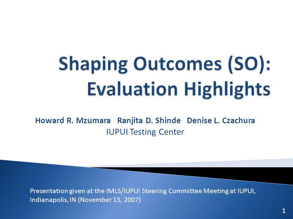 Howard R. Mzumara Ranjita D. Shinde Denise L. Czachura IUPUI Testing Center 1 Presentation given at the IMLS/IUPUI Steering Committee Meeting at IUPUI