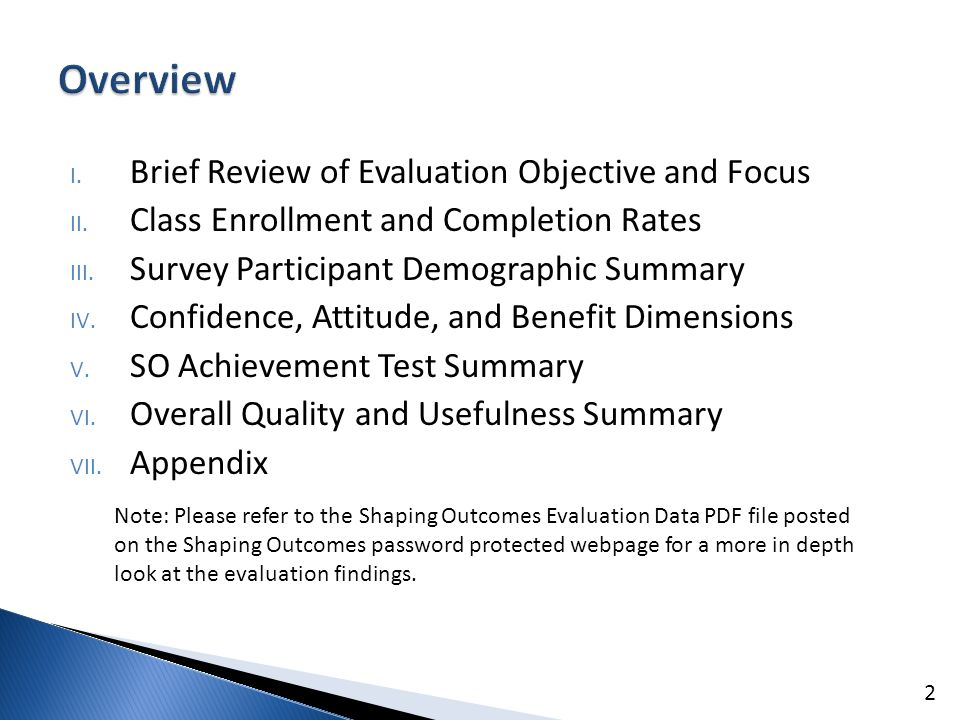 I. Brief Review of Evaluation Objective and Focus II.