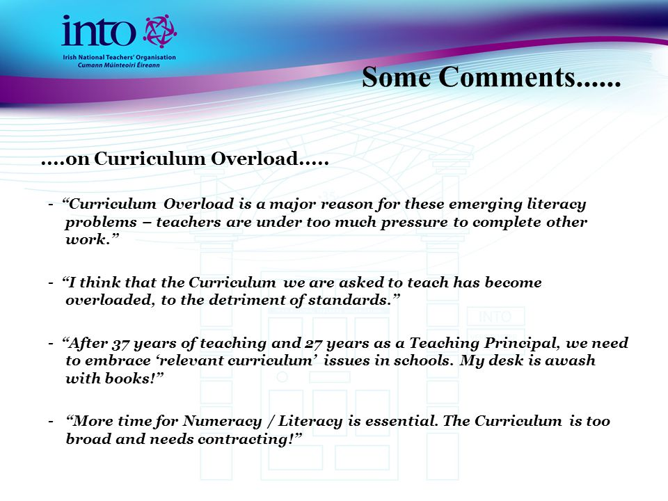 Some Comments..........on Curriculum Overload.....