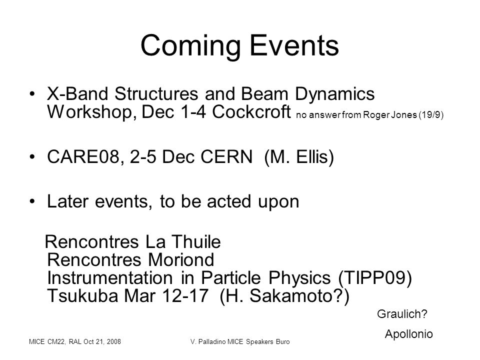 MICE CM22, RAL Oct 21, 2008V. Palladino MICE Speakers Buro X-Band Structures and Beam Dynamics Workshop, Dec 1-4 Cockcroft no answer from Roger Jones