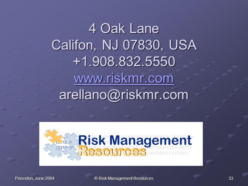 33Princeton, June 2004© Risk Management Resources 4 Oak Lane Califon, NJ 07830, USA +1.908.832.5550 www.riskmr.com arellano@riskmr.com www.riskmr.com