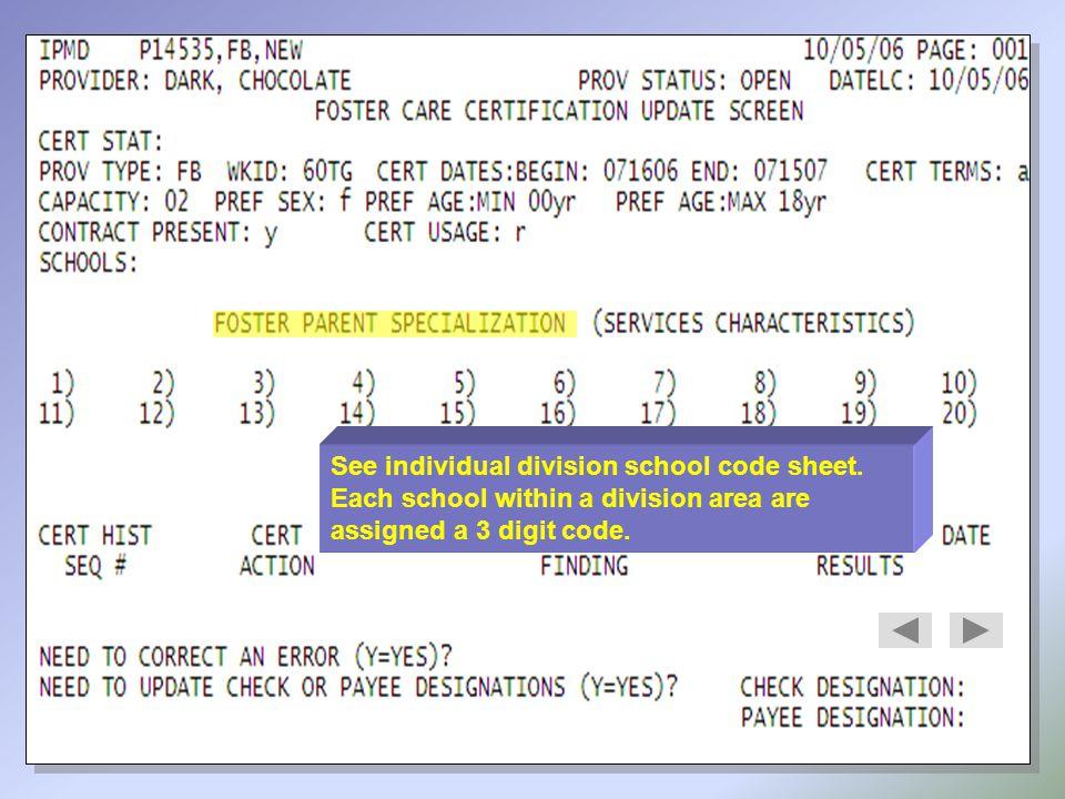 See individual division school code sheet.