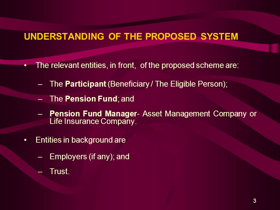 3 UNDERSTANDING OF THE PROPOSED SYSTEM The relevant entities, in front, of the proposed scheme are: –The Participant (Beneficiary / The Eligible Perso