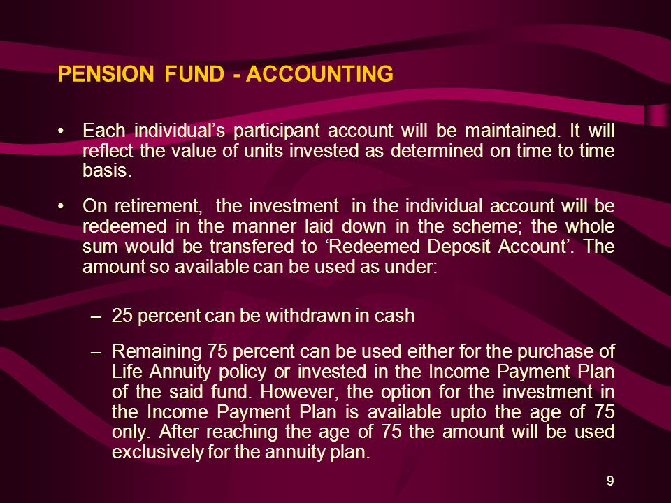 20 TAX INCENTIVES / IMPLICATION (Cont'd) 3.Withholding tax on withdrawal of balance under Pension Fund –Pension Fund Manager whilst making payment from individual pension account shall be required to deduct tax at the rate specified in section 12(6) [average rate of tax for the preceding three tax years] from any amount: a)Withdrawn before the retirement age.