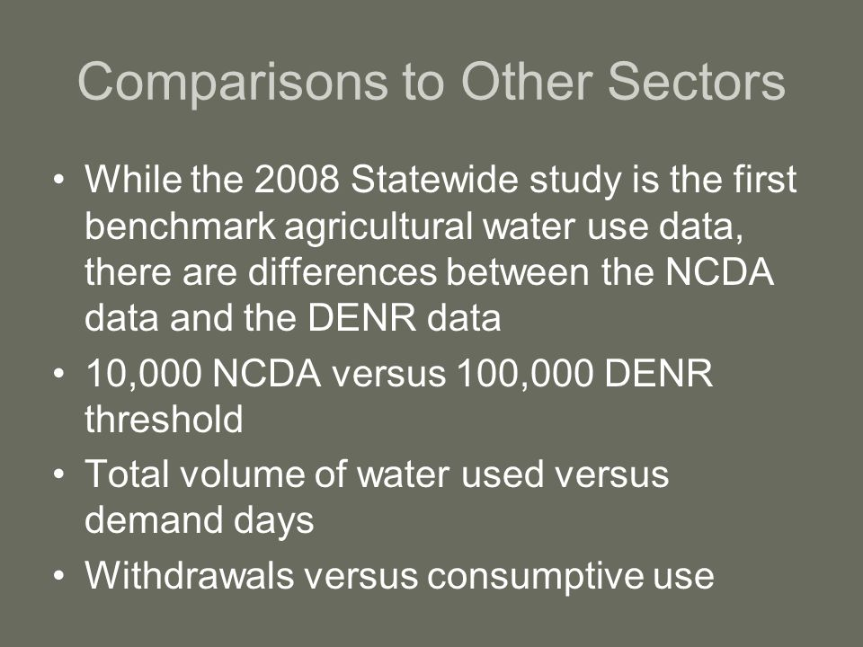 Comparisons to Other Sectors While the 2008 Statewide study is the first benchmark agricultural water use data, there are differences between the NCDA data and the DENR data 10,000 NCDA versus 100,000 DENR threshold Total volume of water used versus demand days Withdrawals versus consumptive use