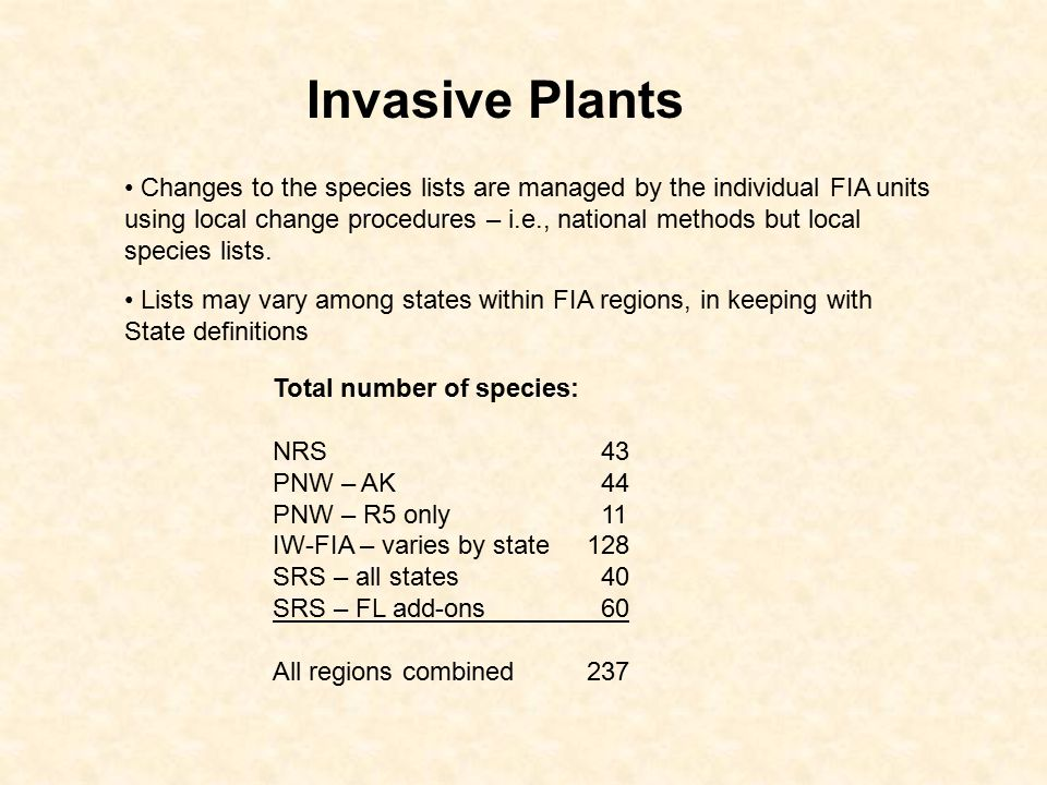 Total number of species: NRS 43 PNW – AK 44 PNW – R5 only 11 IW-FIA – varies by state128 SRS – all states 40 SRS – FL add-ons 60 All regions combined237 Invasive Plants Changes to the species lists are managed by the individual FIA units using local change procedures – i.e., national methods but local species lists.
