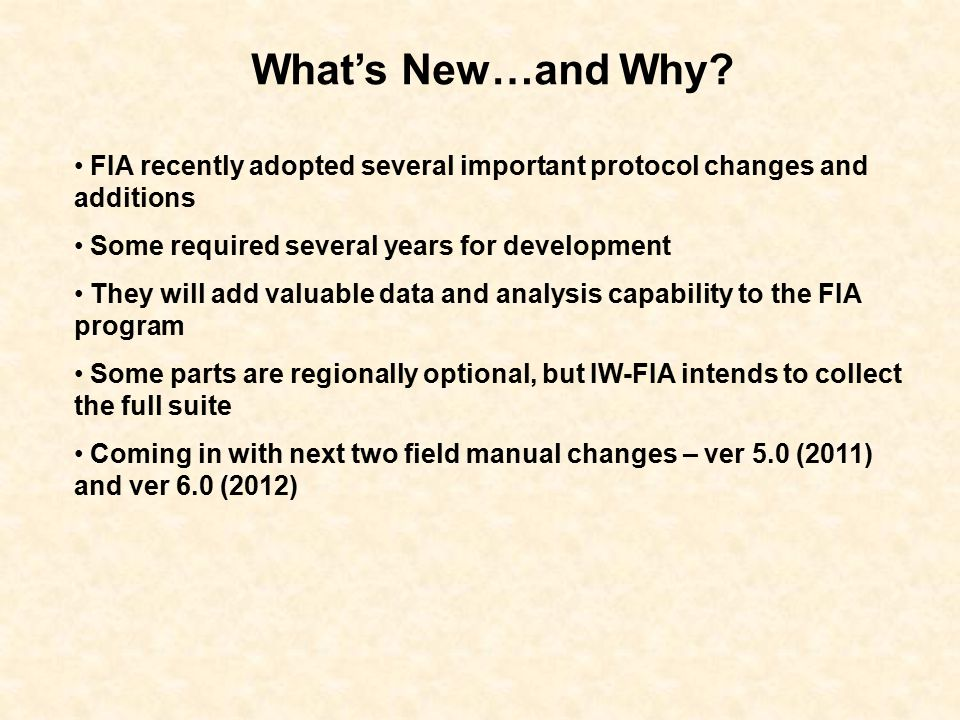 What's New…and Why.