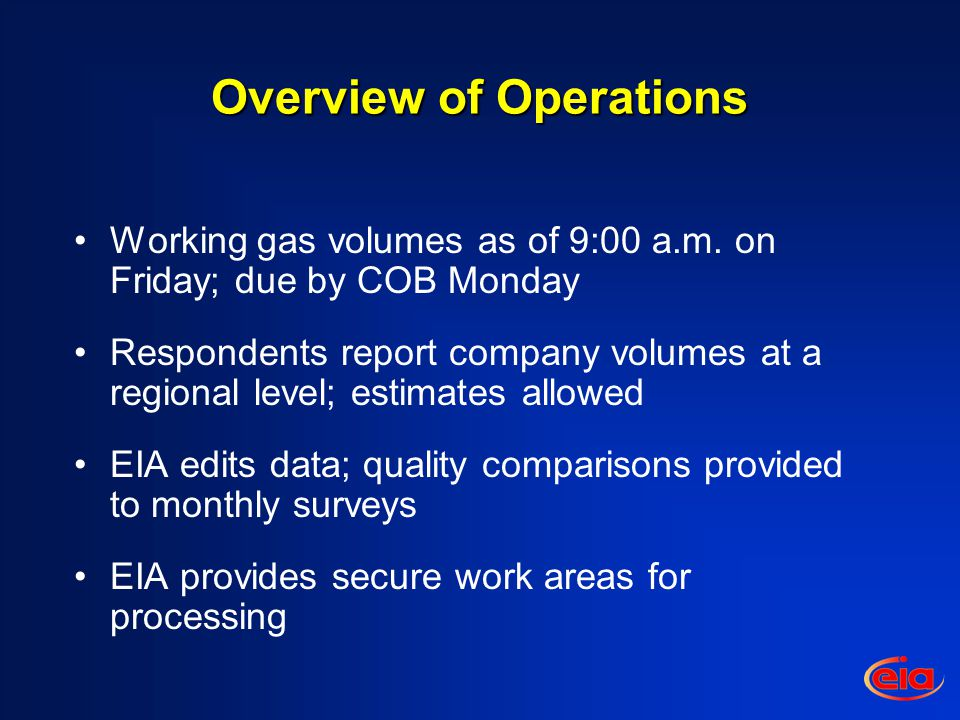 Overview of Operations Working gas volumes as of 9:00 a.m.