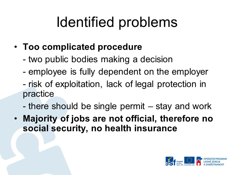 Identified problems Too complicated procedure - two public bodies making a decision - employee is fully dependent on the employer - risk of exploitation, lack of legal protection in practice - there should be single permit – stay and work Majority of jobs are not official, therefore no social security, no health insurance