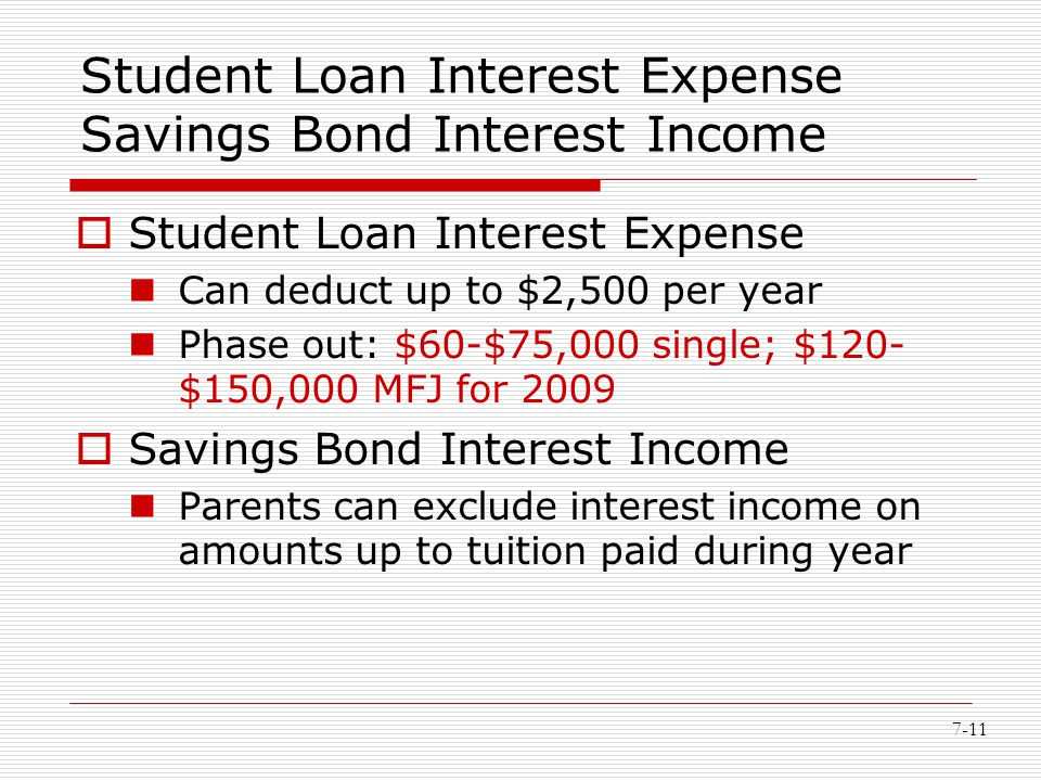 7-11 Student Loan Interest Expense Savings Bond Interest Income  Student Loan Interest Expense Can deduct up to $2,500 per year Phase out: $60-$75,00