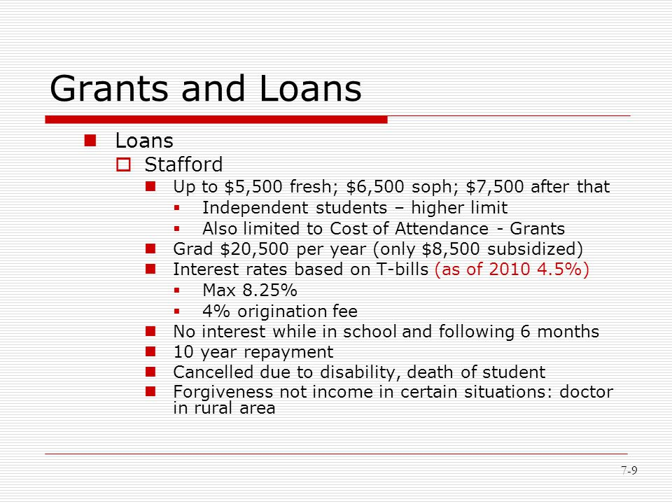 7-9 Grants and Loans Loans  Stafford Up to $5,500 fresh; $6,500 soph; $7,500 after that  Independent students – higher limit  Also limited to Cost
