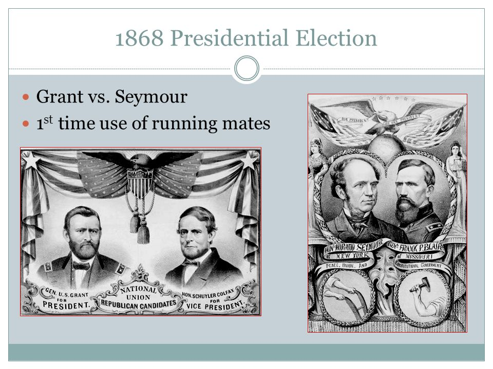 1868 Presidential Election Grant vs. Seymour 1 st time use of running mates