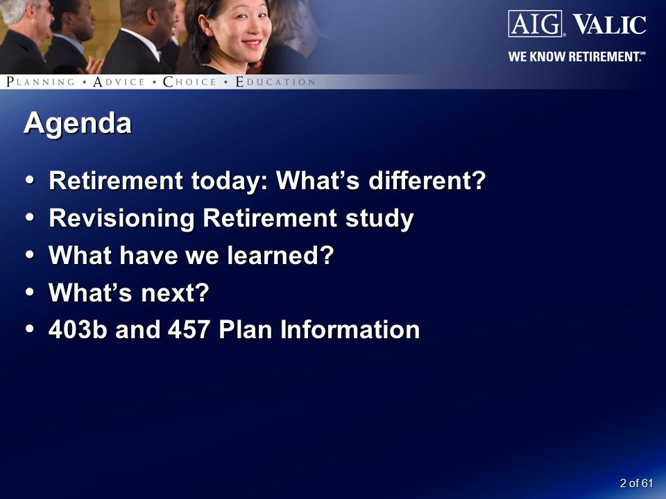 2 of 61 Agenda  Retirement today: What's different?  Revisioning Retirement study  What have we learned?  What's next?  403b and 457 Plan Informa