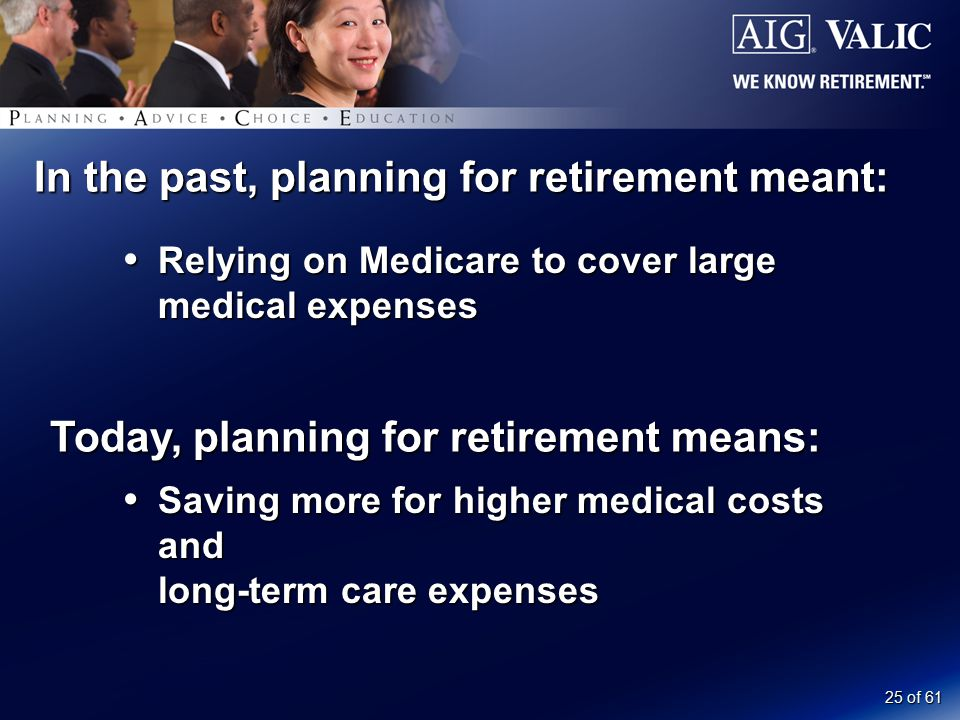 25 of 61 In the past, planning for retirement meant:  Relying on Medicare to cover large medical expenses Today, planning for retirement means:  Saving more for higher medical costs and long-term care expenses