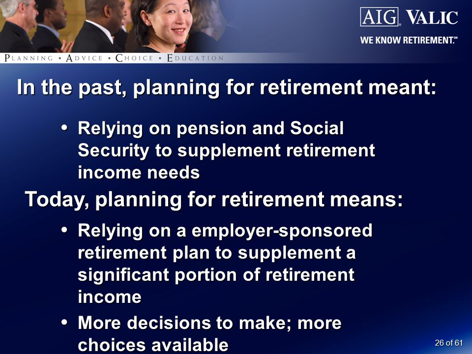 26 of 61 In the past, planning for retirement meant:  Relying on pension and Social Security to supplement retirement income needs Today, planning for retirement means:  Relying on a employer-sponsored retirement plan to supplement a significant portion of retirement income  More decisions to make; more choices available