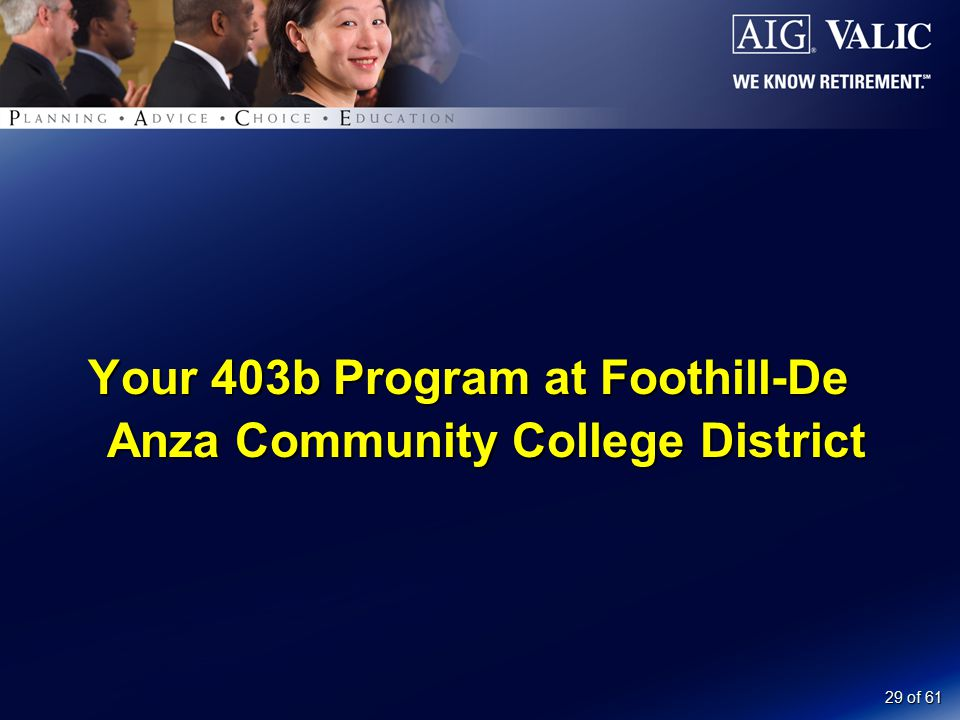 29 of 61 Your 403b Program at Foothill-De Anza Community College District