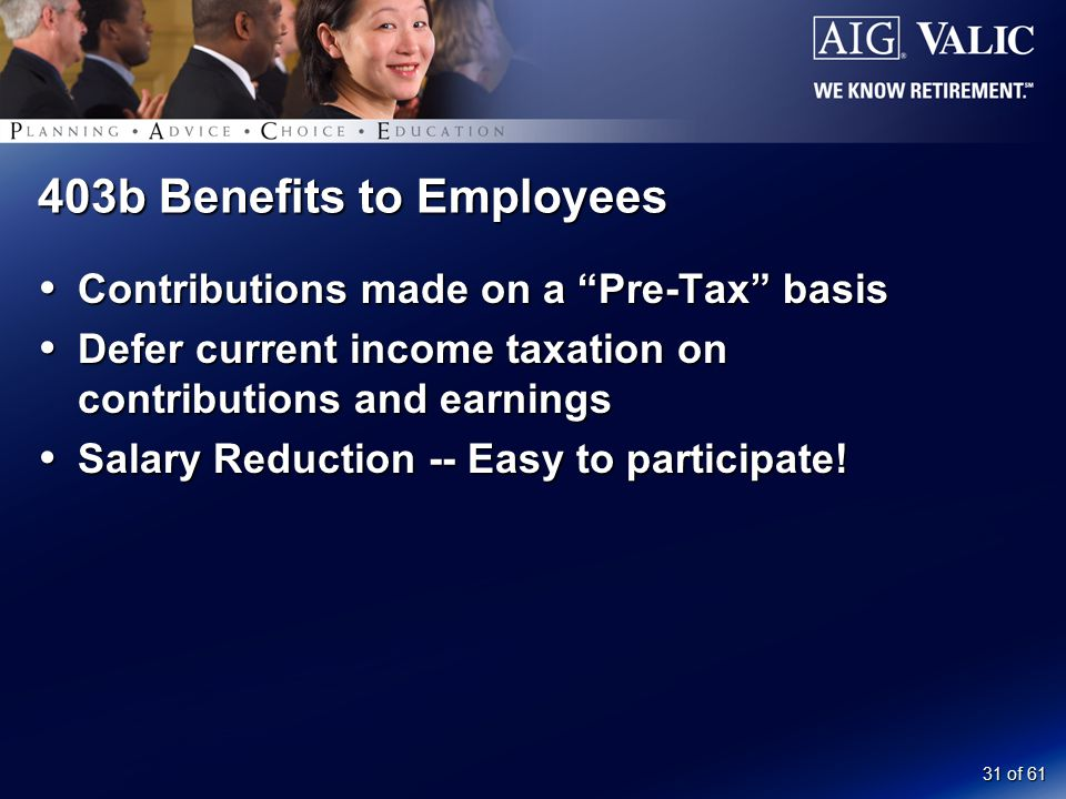 "31 of 61 403b Benefits to Employees  Contributions made on a ""Pre-Tax"" basis  Defer current income taxation on contributions and earnings  Salary R"