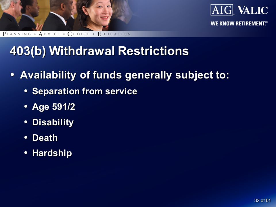 32 of 61 403(b) Withdrawal Restrictions  Availability of funds generally subject to:  Separation from service  Age 591/2  Disability  Death  Har