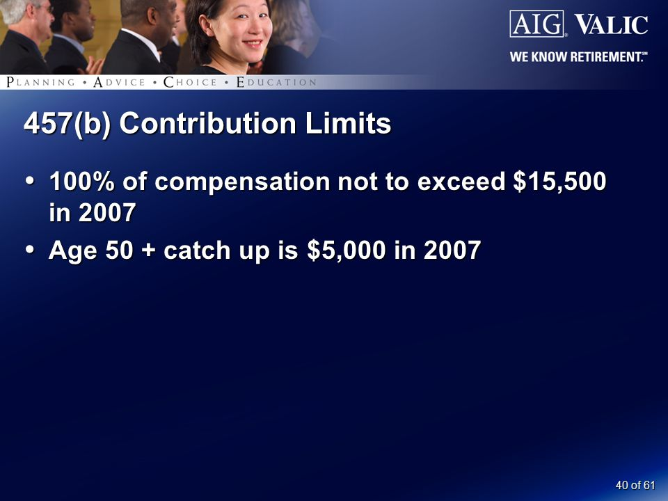 40 of 61 457(b) Contribution Limits  100% of compensation not to exceed $15,500 in 2007  Age 50 + catch up is $5,000 in 2007