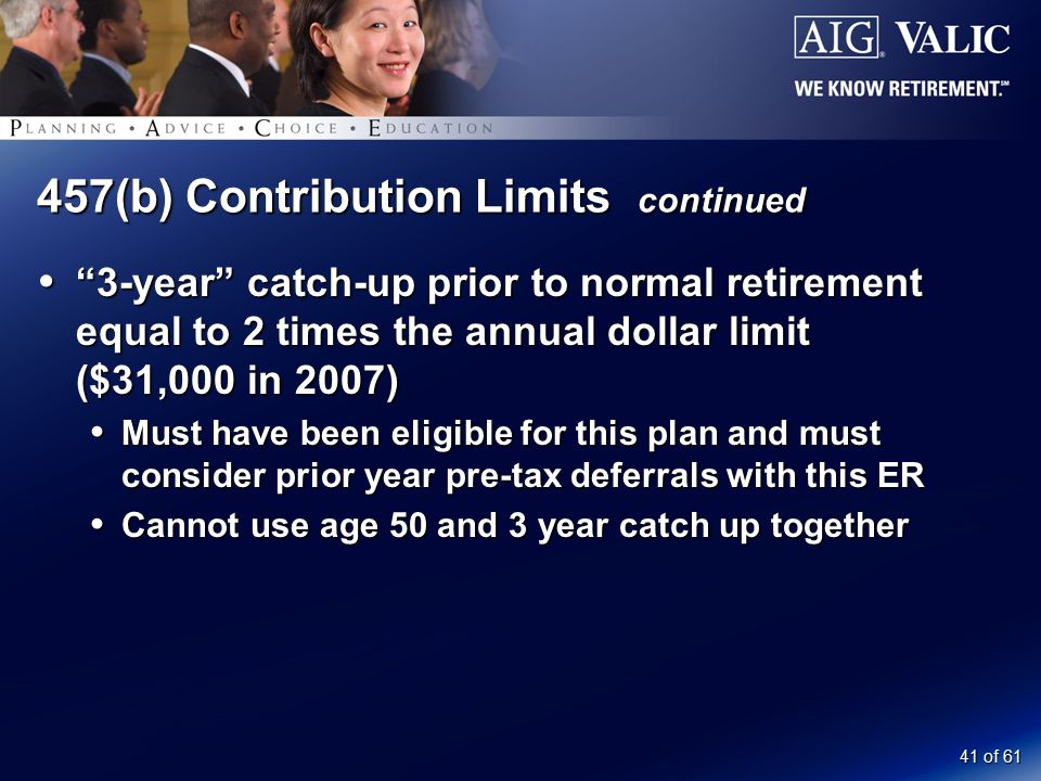 "41 of 61 457(b) Contribution Limits continued  ""3-year"" catch-up prior to normal retirement equal to 2 times the annual dollar limit ($31,000 in 2007"