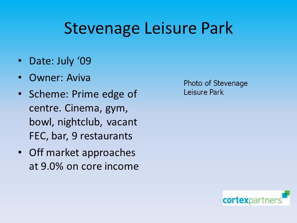 Stevenage Leisure Park Date: July '09 Owner: Aviva Scheme: Prime edge of centre.