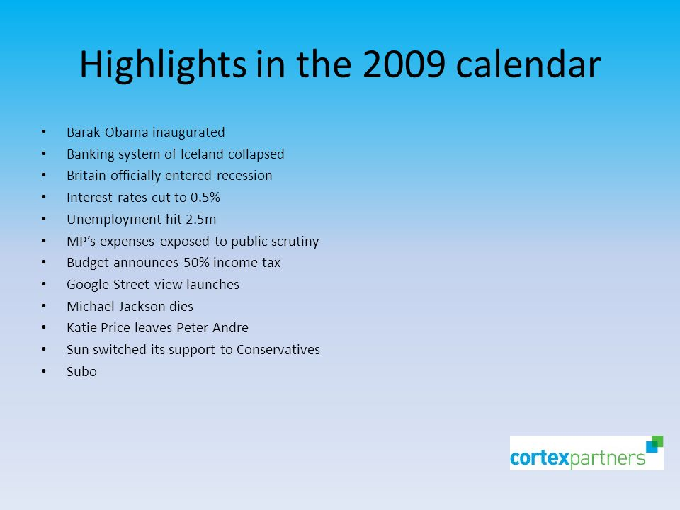 Highlights in the 2009 calendar Barak Obama inaugurated Banking system of Iceland collapsed Britain officially entered recession Interest rates cut to 0.5% Unemployment hit 2.5m MP's expenses exposed to public scrutiny Budget announces 50% income tax Google Street view launches Michael Jackson dies Katie Price leaves Peter Andre Sun switched its support to Conservatives Subo