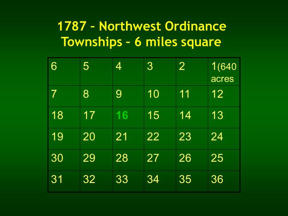 1787 – Northwest Ordinance Townships – 6 miles square 654321 (640 acres 789101112 181716151413 192021222324 302928272625 313233343536