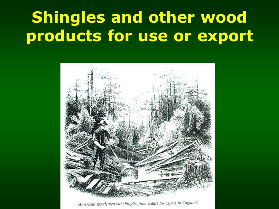 Shingles and other wood products for use or export