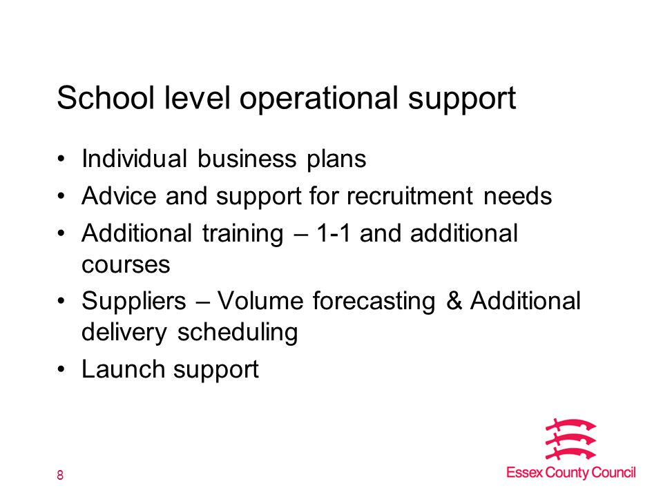 School level operational support Individual business plans Advice and support for recruitment needs Additional training – 1-1 and additional courses S