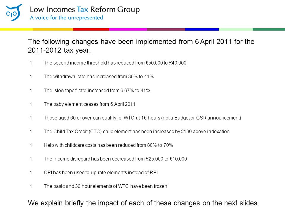 The following changes have been implemented from 6 April 2011 for the 2011-2012 tax year. 1.The second income threshold has reduced from £50,000 to £4