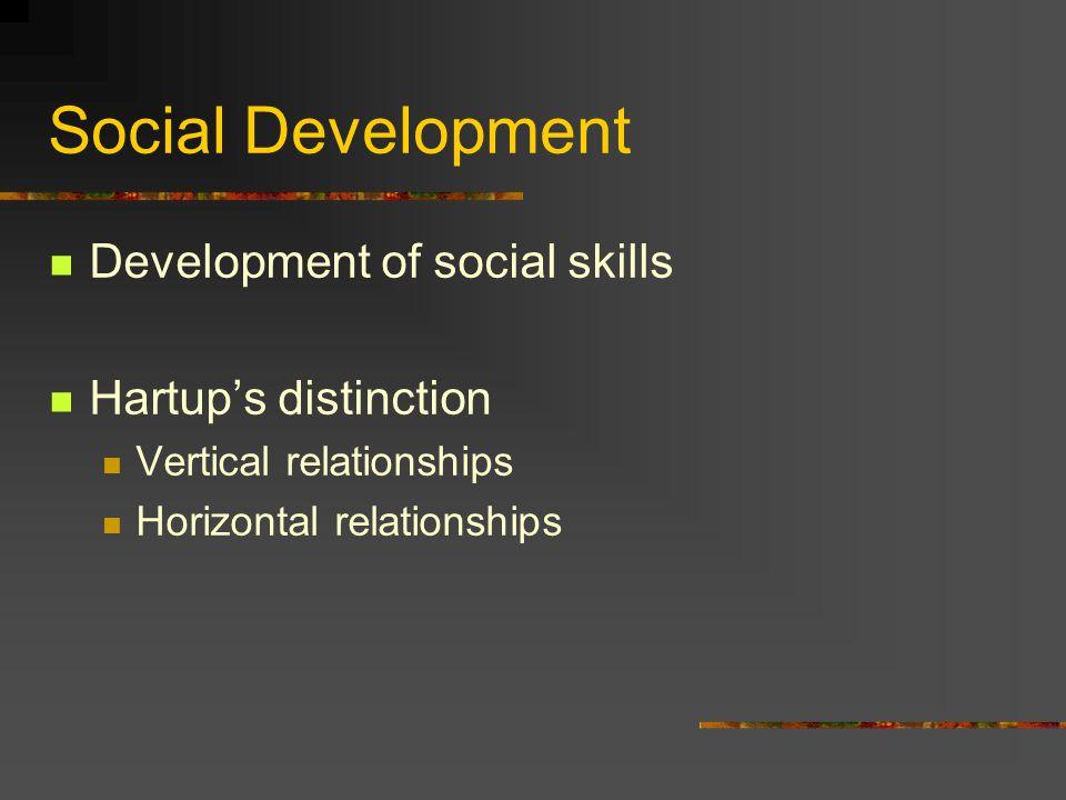 Social Development Development of social skills Hartup's distinction Vertical relationships Horizontal relationships