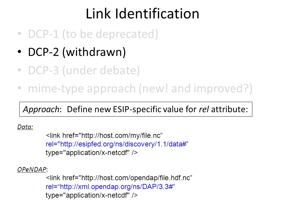 Link Identification DCP-1 (to be deprecated) DCP-2 (withdrawn) DCP-3 (under debate) mime-type approach (new.