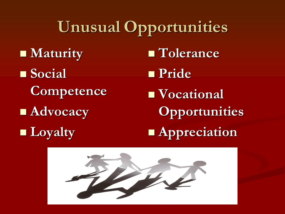 Unusual Opportunities Maturity Maturity Social Competence Social Competence Advocacy Advocacy Loyalty Loyalty Tolerance Pride Vocational Opportunities Appreciation