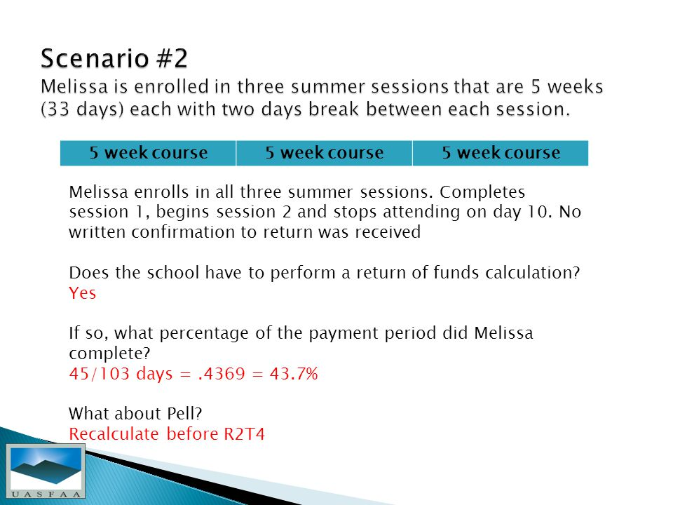 5 week course Melissa enrolls in all three summer sessions.